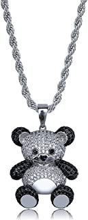 14K Gold Silver Plated Iced Out CZ Simulated Diamond Zirconia Bear Pendant Necklace Men Women Fashion Jewelry Gifts