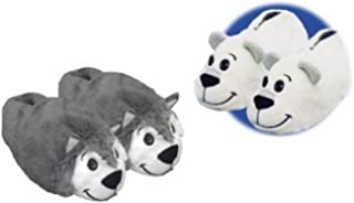Flipazoo AS Seen On TV Slippers Polar Bear Transforming to Husky Size Childrens Two in One Warm Comfy Plush Slippers
