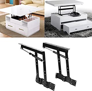 Table Lifting Frame,2pcs Practical Lift Up Top Coffee Table Mechanism Hardware Lifting Frame Spring Hinges,Height Adjustable Desk Converter