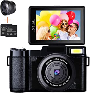 Digital Camera Camcorder, Weton Full HD 1080P 24.0MP Video Camera 3.0 Inch Flip Screen Vlogging Camera Camcorder with Retr...