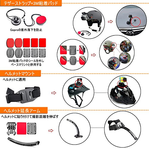 LyStar51-in-1Goproアクセサリーセットアクションカメラ撮影用パーツ日本語取説付属forGoproHero8/7/6/5/4/3+/3/2BlackSilverSessionHERO+LEDSJCAMSJ7SJ6SJ5SJ4