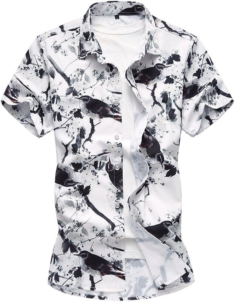 Men Hawaiian Floral T Shirt Summer Short Sleeve Beach Party Casual Tops Blouse#