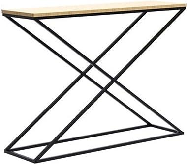 Table console de style industriel, table de porche de couloir avec panneau en bois et cadre en métal, table de canapé décorat
