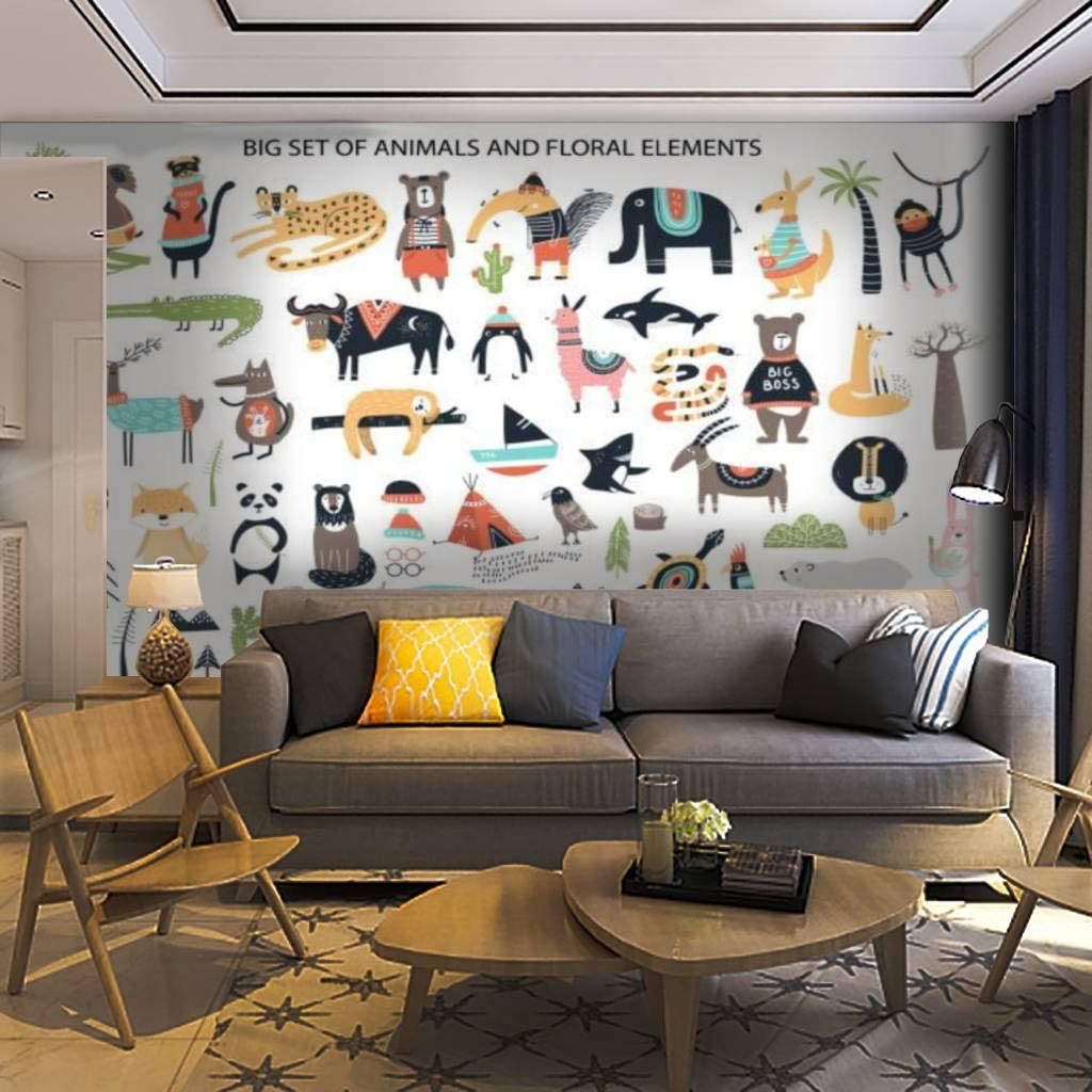 Wallpaper Wall Mural Big Set of Cartoon Department store Cute Ha Animals Diferent Inventory cleanup selling sale
