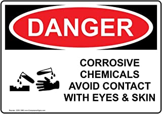 Danger Corrosive Chemicals Avoid Contact with Eyes & Skin OSHA Safety Label Sticker Decal, 7x5 in. Vinyl for Hazmat by ComplianceSigns