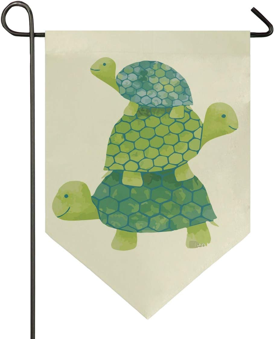 Blueangle Cartoon Three Turtles Double Sided Garden Flag 28 x 40 Inch Decorative House Flag for Outdoor Frontdoor Yard