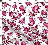 Cranberry, Rot, Blumen, Damast, Historisch Stoffe -