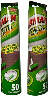 "Libman Lint Roller Refill Extra Wide 10"" Surface 100 Extra Large Sheets Pet Hair (Pack of 2)"