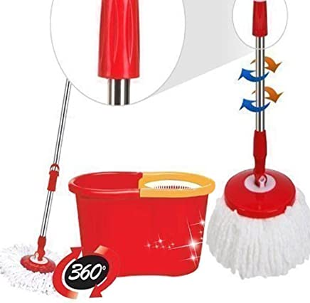 Denny International® 360 Degree Spinning Mop Bucket Home Cleaner With Two Mop Heads