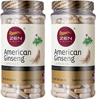 Cyber Monday Sale: Ginsenosides American Ginseng 500mg, 600 Capsules Extra Strength Root Extract Supplement—Performance & Mental Health Pills for Men & Women. Total 2 Bottles 600 Capsules