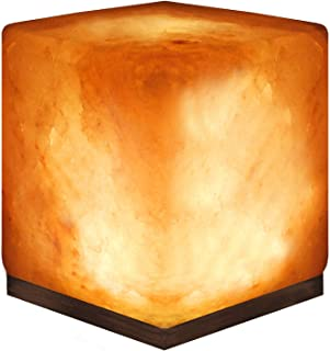 Crystal Allies: Natural Himalayan Cube Salt Lamp on Wood Base with Cord, Light Bulb and Authentic Crystal Allies Info Card - Pack Of 6