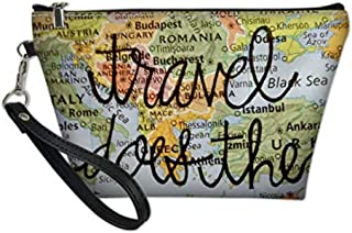 UNICEU Map Printing Makeup Bags PU Leather Waterproof Cosmetic Pouch for Ladies Zipper Toiletry Make Up Purse