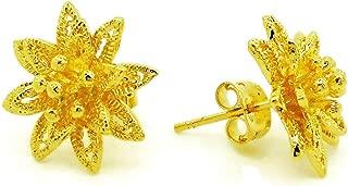 Flower Stud Earrings 23k 24k Thai Baht Yellow Gold Plated Filled Earrings Design From Thailand