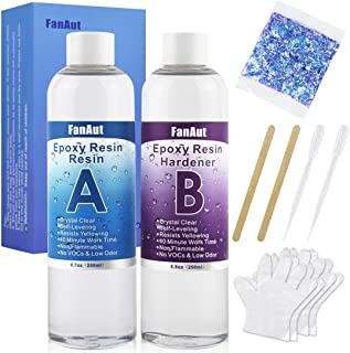 Best FanAut Epoxy Resin Crystal Clear for Art, Crafts, Tumblers, Casting and Jewelry Making 18.5 Ounce with 2 Droppers, 2 Sticks,1 Pair Gloves and 1 Pack of Resin Glitter Review