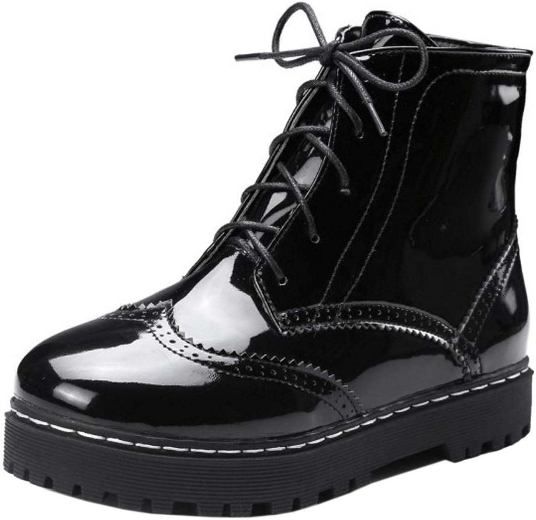 TAOFFEN Women Casual Platform Brogue shoes Martin Ankle Boots