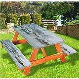 Mantel de mesa y banco de picnic para paisaje, mesa de picnic y banco, mantel con borde elástico Panamá, 28 x 72 pulgadas, juego de 3 piezas para camping, comedor, exterior, parque, patio
