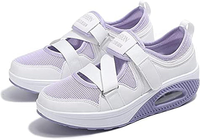 Women's Fashion Air Cushion Sole Sneakers Nurse Shoes, Non-Slip Mesh Walking Slip Velcro Comfy Casual Shoes, Adjustable Breathable Women's Casual Walking Sneakers Lightweight Breathable