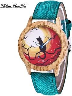 SuSip Halloween Decorations Halloween Watch Blue Needle Wood Grain Dial Denim Watches Casual Watch Gift New