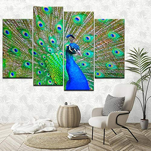 ANTAIBM® 4 Dekorative Malerei Wohnzimmer Fresko Holzrahmen - verschiedene Größen - verschiedene StileLeinwand Malerei Flamingo Pfau Tablette 4 Stück Wandkunst Malerei Modulare Tapeten Poster Print Hom