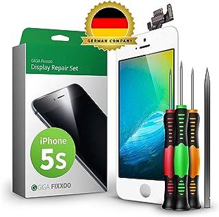 GIGA Fixxoo Kit Completo de Reemplazo de Pantalla iPhone 5s LCD Blanco; con Touchscreen, Cristal Retina Display, cámara y Sensor de proximidad - Fácil instalación y reparación guiada DIY
