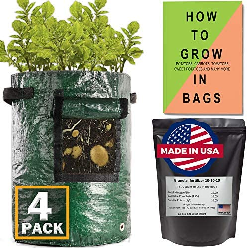 4 Pack Potato Grow Bags 10 Gallon Heavy Duty Made in USA Texas All Purpose Fertilizer Book How product image