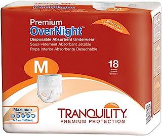 Tranquility Premium Overnight Disposable Absorbent Underwear (DAU) (Medium - 18 Count), White