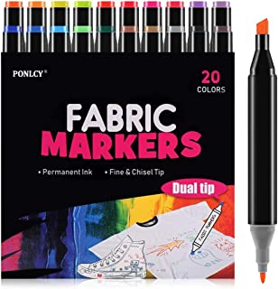 PONLCY Large 20 Colors Fabric Markers Pens Permanent, Fine & Chisel Dual Tips Fabric Paint Marker for Clothes Canvas Bags ...