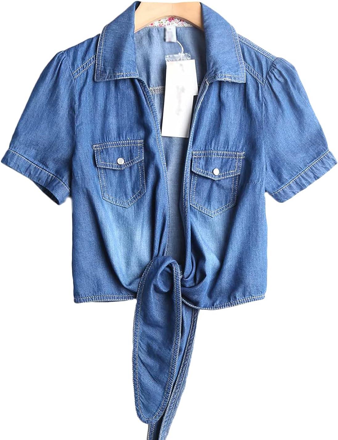 Jenkoon Women's Casual Short Sleeve Denim Shirt Open Front Knotted Shrugs Cardigan Crop Tops