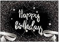 お誕生日おめでとう背景シルバーとブラックBdayパーティーバナー素晴らしい記念日の装飾用品好意ギフトギフトボケキラキラ輝くドット写真の背景Photoboothプロップ7x5FT