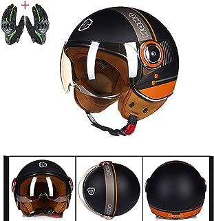 Retro Moped Motorcycle Pilot Bobber Motorbike Biker Half Helmet Custom Jet Helmet Sport Jet Pilot Bound Training DOT Approval,Black,L