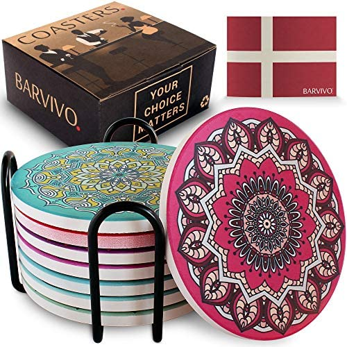 BARVIVO Mandala Ceramic Coasters for Drinks Absorbent Set of 8 with Holder Quickly Absorbing product image