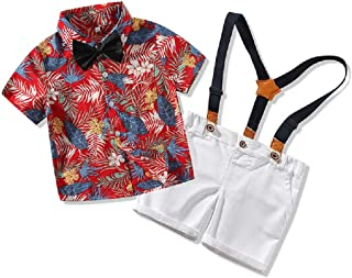 tommelise Toddler Baby Boys Gentleman Outfits Short Sleeve T-Shirt+Bib Pants+Bow Tie 3Pcs