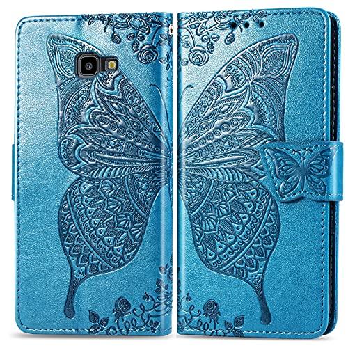 ZHANGHUI Funda protectora tipo cartera para Samsung Galaxy J4 Plus, a prueba de golpes, funda tipo cartera, correa de muñeca, funda tipo cartera con diseño de mariposa floral (color azul)