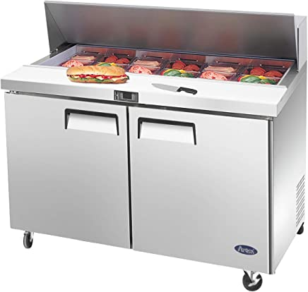Salad Sandwich Prep Table Refrigerator,ATOSA Medium Commercial Double 2 door Stainless Steel Salad Sandwich Prep Table Refrigerator MSF8302GR for Restaurant Kitchen 12 Cu.Ft.48W30D43.7H inch 33℉—38℉