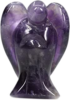 (Amethyst) - Natural Amethyst Gemstone Carved Crystal Figurine 3.8cm Peace Angel