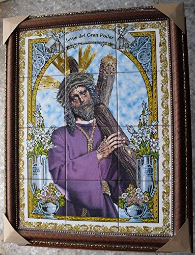 Rustiluz Cuadro Jesús del Gran Poder con Azulejos Enmarcado.