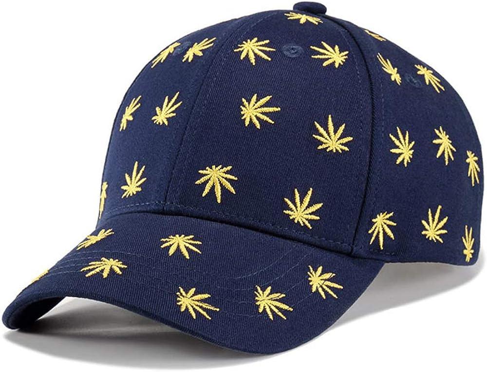 TKMY Weed Embroidery Baseball Cap, Cotton Adjustable Baseball Cap, Trucker Cap, Dark Blue for Men and Women