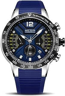 MEGIR Men's Analog Military Chronograph Quartz Watch for Business Work Sport