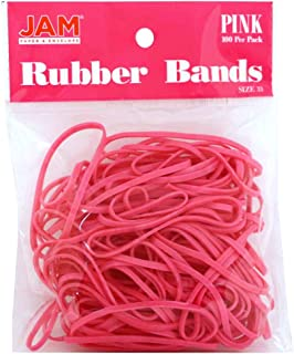 JAM PAPER Colorful Rubber Bands - Size 33 - Pink Rubberbands - 100/Pack