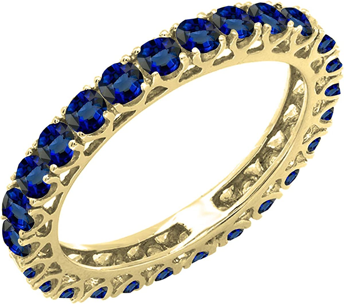 Dazzlingrock Collection 14K Round Lab Created Blue Sapphire Ladies Eternity Wedding Ring Band, Yellow Gold, Size 7.5