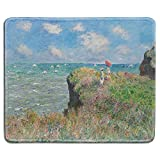 dealzEpic - Art Mouse Pad - Natural Rubber Mousepad with Famous Fine Art Painting of Cliff Walk at Pourville by Claude Monet - Stitched Edges - 9.5x7.9 inches