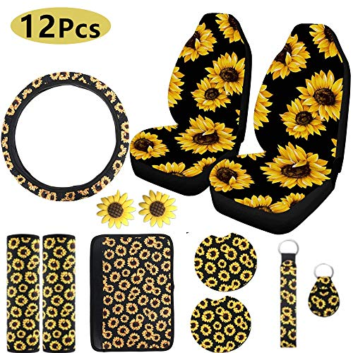 XMSSIT 12Pieces Sunflower Accessories for Car Wheel Cover,2Pieces Car Front Seat Covers, Sunflower...