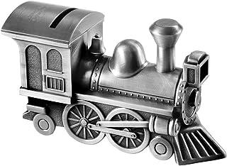 Train Locomotive Custom Engraved Piggy Bank - Brushed Nickel Personalized