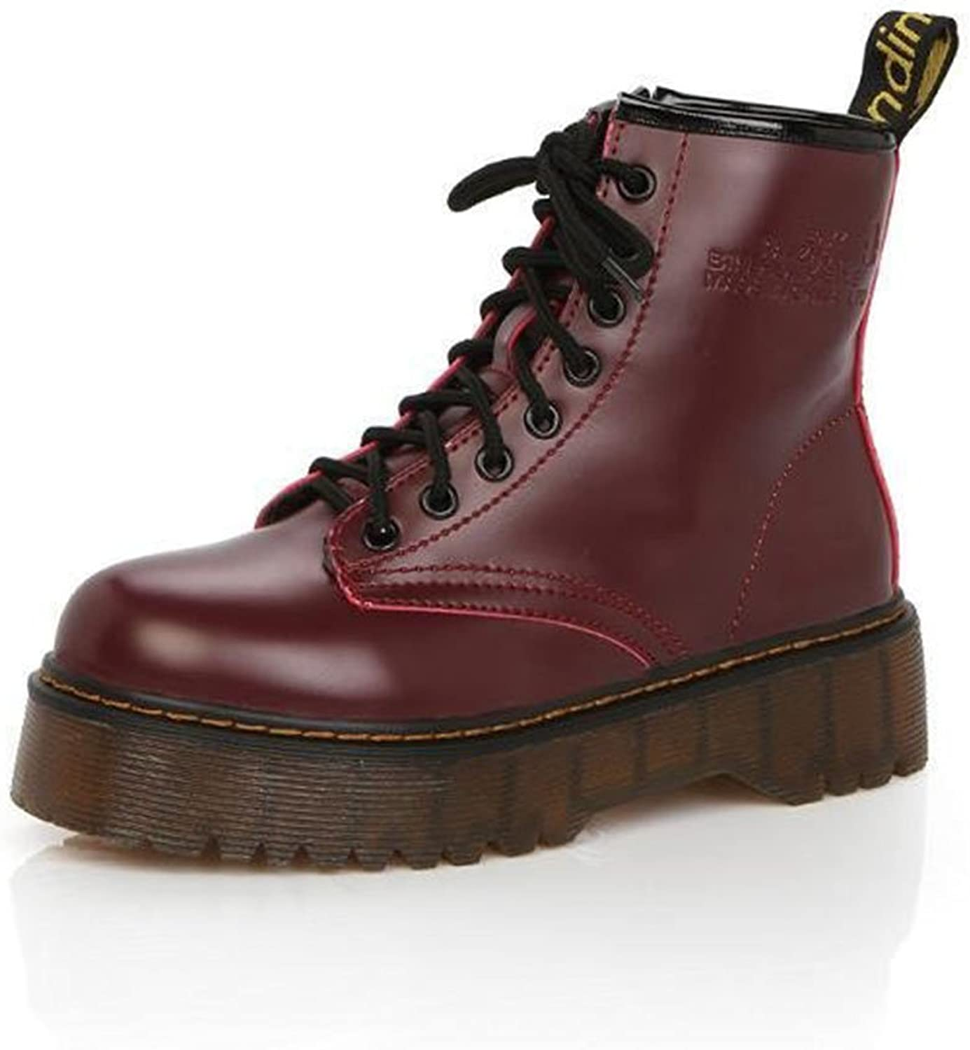 HEMAY Women's PU Leather Boots Thick-Soled Lace-up Martin Boots
