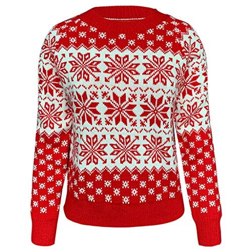 Meikosks Elk Snowflake Sweater Womens O Neck Knit Tops Christmas Pullover Long Sleeve Blouses
