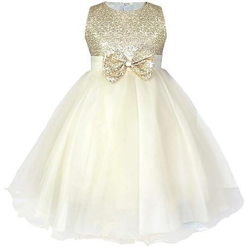 Kids Pageant Wedding Bridesmaid Princess Sequin Bowknot Formal Flower Girl Dress
