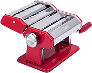 Shule Pasta Maker Machine Stainless Steel Adjustable Pasta Roller and Cutter for Tagliattelle Linguine Lasagna Noodles, Classic Red