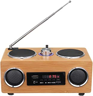 Retro Vintage Wooden FM Radio,Portable Knob to Adjust The Speaker, U Disk MP3 Player Remote Control LCD Display