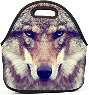 Muzzle Stare Wolf Face Lunch Bag Portable Tote Bento Pouch Lunchbox Baby Bag Multifunction Storage Bag for Outdoor Tour School Office Picnic Zipper Satchel