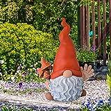 ROERDTRY Gartenzwerg Ornament, Lustiger Gnom Frecher Gartenzwerg Harz Garten Zwerg Dekoration Lustig Gartenzwerg Figuren Deko Für Die Gartendekoration Gartendeko Figuren Gartendeko
